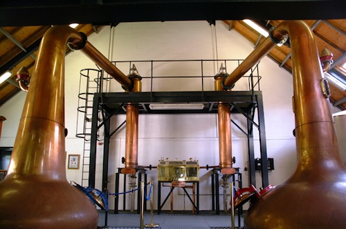 Arran Distillery copper pot stills