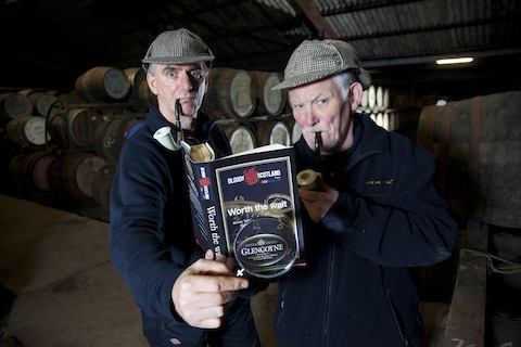 Mashman Charlie Murray and stillman Duncan McNicoll search for creative inspiration among the casks for the new Glengoyne sponsored Short Story Writing competition, part of the inaugural Bloody Scotland International Crime Writing Festival.
