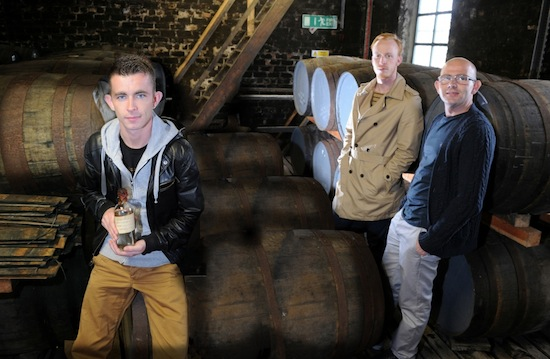 l-r Paul Brannigan William Ruane Gary Maitland The Angels' Share cast unveil a priceless bottle of Malt Mill