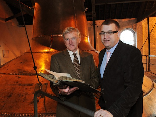 Barry Crockett, Master Distiller at the Midleton Distillery with his successor Brian Nation.