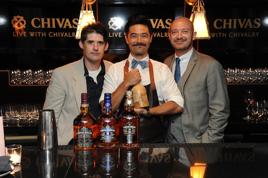 (L-R) Dave Arnold with winner Masahiro Urushido and Max Warner, Chivas Global Brand Ambassador