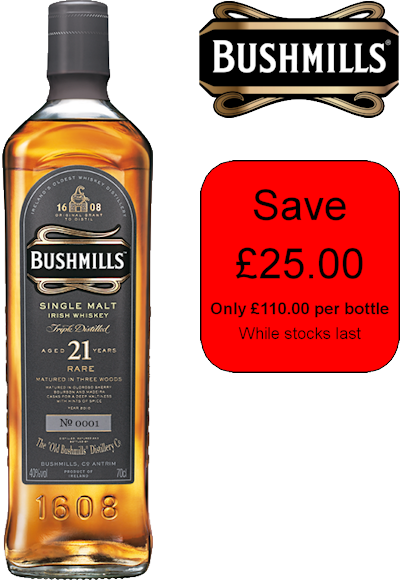 Bushmills / 21 Year Old Single Malt - Save £25!