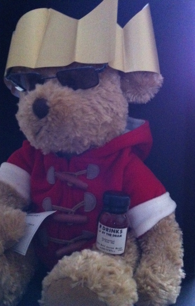 'Lewis' The Bear modelling the fine paper hat - the joke has been hidden to protect the innocent!