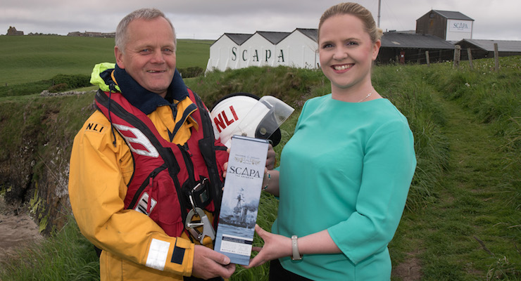 RNLI Lifeboat crew member Graham Campbell and Nicola Stevenson, Scapa Distillery Visitor Manager, present Scapa Jutland, a new single cask single malt Scotch whisky crafted to mark the centenary of the Battle of Jutland on 31st May 2016. Scapa was used as a base by the British naval fleet during the First World War and the artisanal island single malt distillery has released 249 bottles of Scapa Jutland (RRP £200) with all profits from their sale, estimated at over £45,000, to be donated by Chivas Brothers to the RNLI.